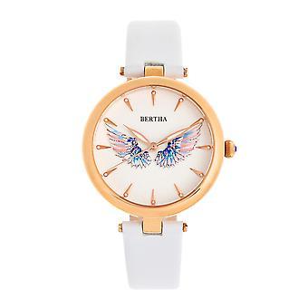 Bertha Micah piel-reloj de banda-blanco