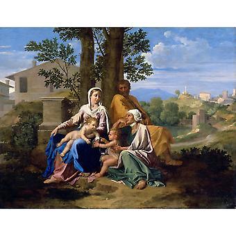 המשפחה המקודשת בנוף, ניקולא פוסן, 50x38 ס מ