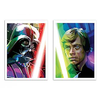 2 Art-Posters - Vador and Luke Polygonal - Liam Brazier