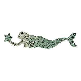 Vintage Look Embossed Tin Swimming Mermaid Wall Hanging