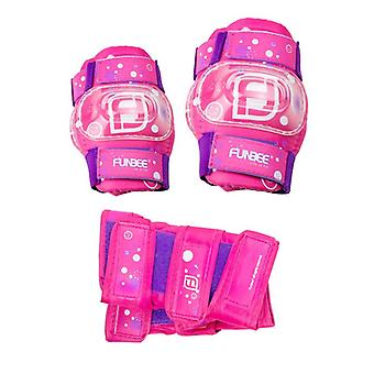 Funbee Pink/Purple Girls Kids Wrist/Elbow and Knee Pads Protection Set S-X-Small