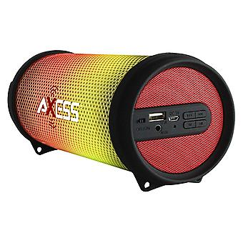 Axess Mini Portable Hi-Fi Bluetooth Speaker with Dancing LED Lights - Red