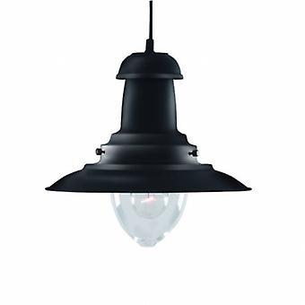 1 Light Dome Ceiling Pendant Black, Clear Glass Medium