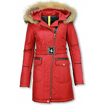Long Winter Coat With Fur Collar - Winter Parka Coat -Red