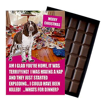 English Springer Spaniel Gift for Dog Lover Funny Boxed Chocolate Greeting Card Xmas Present