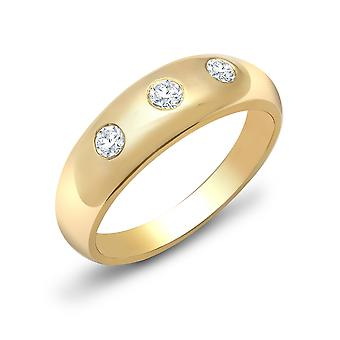 Jewelco London Men's Solid 9ct Yellow Gold Rub Over Set Round H I1 0.34ct Diamond Domed Band Trilogy Ring 7mm