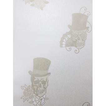 Crânes de sucre mexicains Glitter Wallpaper White Gold Metallic Textured Vinyl Rasch