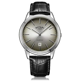 Rotary | Men's Cambridge | Grey/Black Dial | Black Leather Strap | GS05390/20 Watch