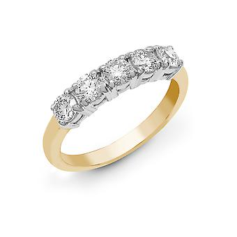 Jewelco London Solid 18ct 2 Colour Gold 4 Claw Round G SI1 1.25ct Diamond 5 Stone Pentalogy Eternity Ring