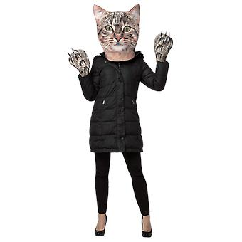 Adult Cat Head & Paws Kit Animal Pet Novelty Funny Fancy Dress Costume