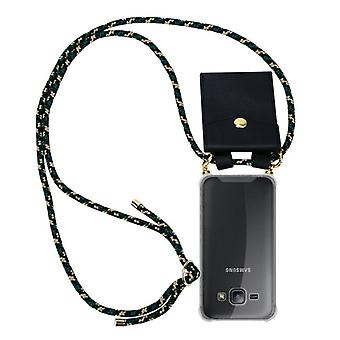 Cadorabo caso da corrente do telefone para Samsung Galaxy J1 2015 caso capa-colar de silicone caso de ombro com cordão cabo de fita e estojo removível caso capa tampa