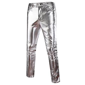 Allthemen Men's Slim Fit Bright Color Casual Leather Pants