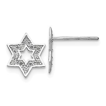 14k White Gold Polished Post Earrings Madi K CZ Cubic Zirconia Simulated Diamond Religious Judaica Star of David Earring