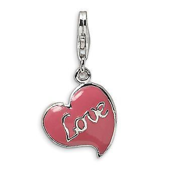 925 Sterling Silver Solid Reversibel Rodium pläterad Inte graverad Fancy Lobster Stängning 3 D Pink Enameled Love Heart W