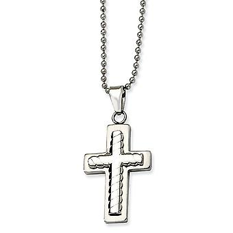 Stainless Steel Brushed Polished Fancy Lobster Closure Religious Faith Cross Pendant Necklace 24 Inch Jewelry Gifts for
