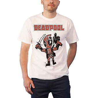 Deadpool T Shirt Deadpool Cartoon Bullet new Official Marvel Comics Mens White