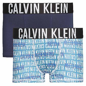 Calvin Klein Boys 2 Pack Intense Power Boxer Trunk, Blue Shadow / Celestial Overprint, Age 8-10