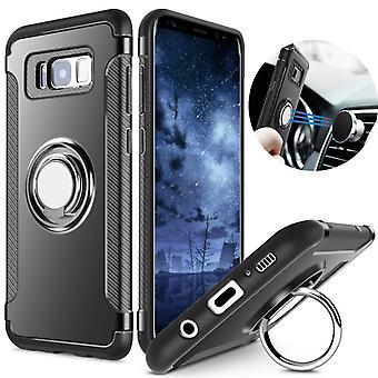 Samsung S8 + hybrid armor shell magnetic case black