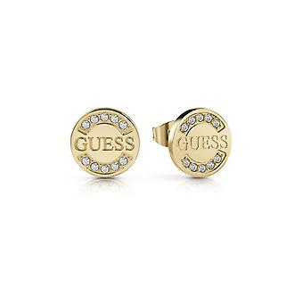 Guess Jewellery Guess Logo Coin Stud Gold Earrings UBE28029