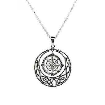 Outlander Inspired Scottish Highland Interlace Outlander 'Voyager' Inspired Nautical Compass Necklace Pendant