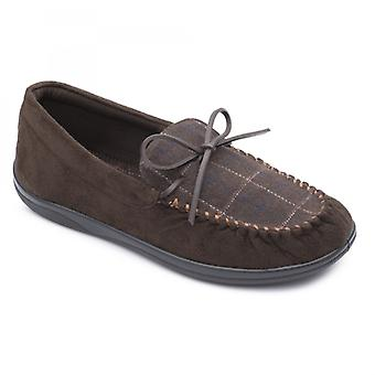 Padders Lounge Mens Textile Wide (g Fit) Slippers Brown