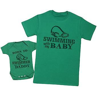 ولد ليكون السباح تماما مثل الأب مطابقة الأب الطفل هدية مجموعة - Mens تي شيرت وملابس الطفل