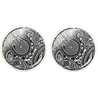 Bassin and Brown Paisley Cufflinks - Black/White