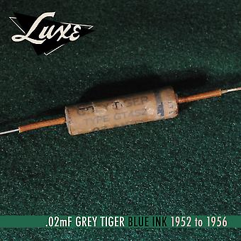 Luxe 1952-1956 Grey Tiger: Single Wax Impregnated .02mf Capacitor (blue Ink)