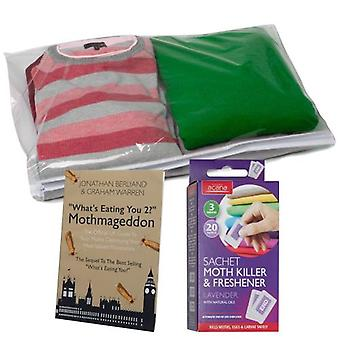 Caraselle Peva Garment Sweater Bag Translucent Cover With Zipper Ideal For Jumpers Sweaters Cashmere or Wool + Acana Moth Killer & Freshener Sachets