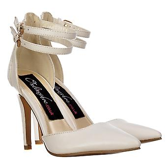 Onlineshoe Pointed Toe Mid Heels - High Back Strappy Stilettos - White