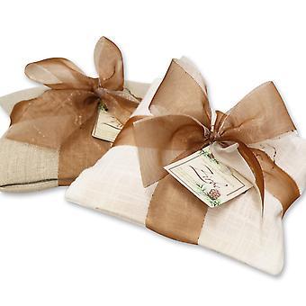 Florex fyrretræ pude linned puder fyldt med fåremælk sæbe nåle lys/mørk med sløjfe 250 g