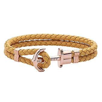 Paul Hewitt PH-PH-L-R-CA Bracelet - Ip Rose PHREP Mustard Leather Steel Anchor