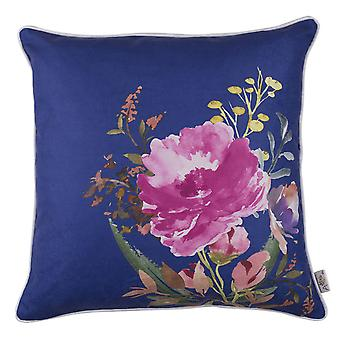 Blue Watercolor Wild Flower Decorative Throw Pillow Cover