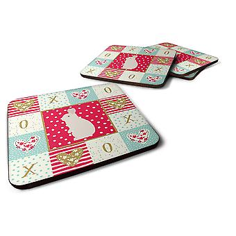 Set of 4 New Zealand White Rabbit Love Foam Coasters Set of 4