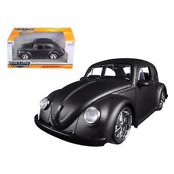 1959 Volkswagen Beetle Satin Metallic Gray with 5 Spoke Wheels 1/24 Diecast Model Car by Jada