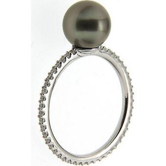 Adriana ring silver 925 rhod. Tahiti black 8-9mm Premium PR4-70-52