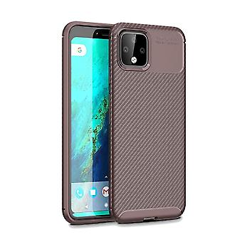 Beetle Series Carbon Fiber Texture Shockproof TPU Case for Google Pixel 4XL, Brown