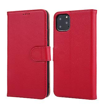 For iPhone 11 Pro Case Cowhide Genuine Leather Wallet Protective Cover Pink