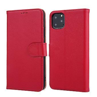 ajaksi iPhone 11 ammattilainen asia cowhide aito nahka lompakko suojakansi vaaleanpunainen