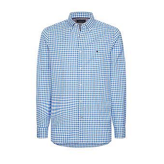 Tommy Hilfiger Slim Fit Gingham Camicia Copenhagen Blue