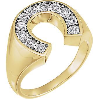 14k Sarı Altın ve Beyaz Altın 0.25 Dwt Diamond Erkek Yüzük Boy 11 Erkekler için Takı Hediyeler