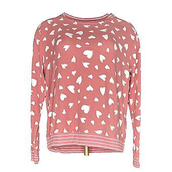 Anybody Women's Sweater Printed Hacci Sweatshirt Pink A302193