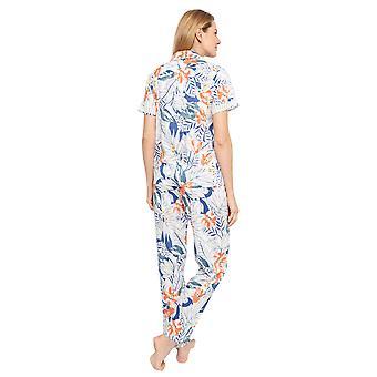 Cyberjammies 1356 Frauen's Nora Rose Ellen blau Blatt Druck Baumwolle gewebt Pyjama Set