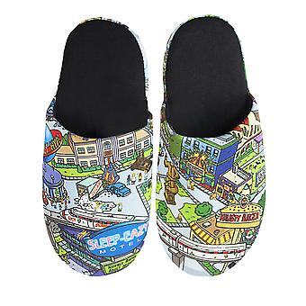 The Simpsons Springfield All Over Print Men's Slippers