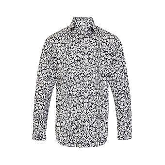 JSS Floral Azul e Branco Regular Fit 100% Camisa de Algodão