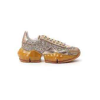 Jimmy Choo Diamondfxbzgoldiemix Women's Gold Leather Sneakers