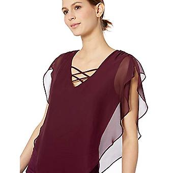 AGB Women's Criss-Cross Popover Top, Wine, L, Wine, Size Large