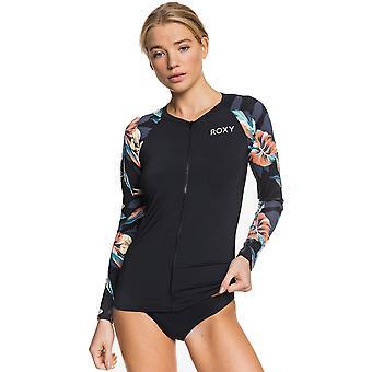 Roxy Fashion Zip Lycra Langarm Rash Weste in Anthrazit Tropicoco S