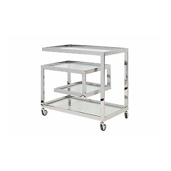 Light & Living Bar Trolley 81x46x77cm Tuncay Clear Glass And Nickel