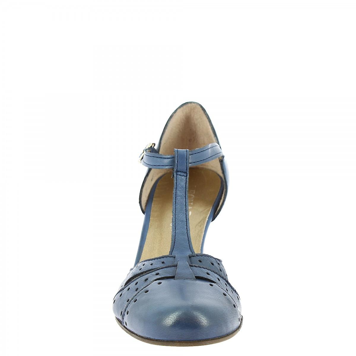 Leonardo Shoes Women's Handmade Dance Mid Heels Pumps Blue Napa Leather